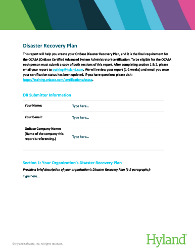 OnBase Disaster Recovery Plan