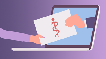 Large Thumbnail showing laptop with a computer handing over a medical document to a person