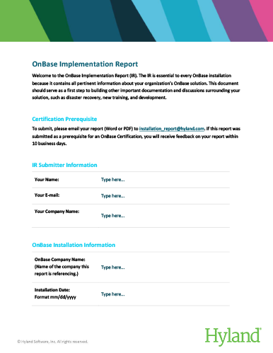 OnBase Implementation Report