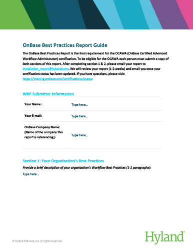 Workflow Best Practice Report